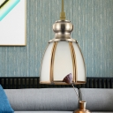 Traditional Bowl/Flower/Trapezoid Drop Lamp 1 Head White Glass Pendant Ceiling Light in Gold for Dining Room