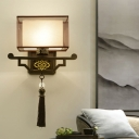 Black 1 Light Wall Sconce Lighting Traditional Metal Rectangular Wall Mount Light with Fabric Shade for Kitchen