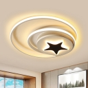 Circle Flush Light Fixture Contemporary Acrylic Black-White 16