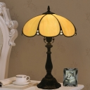 Stained Glass Scalloped Standing Lamp Tiffany 1 Head Beige Task Lighting for Bedroom