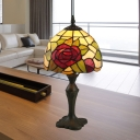 Stained Glass Antique Brass Table Light Rose 1 Head Tiffany Reading Light for Bedside