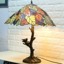 Leafy Stained Glass Reading Lamp Tiffany 1 Light Brass Task Lighting for Reading Room
