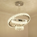 Contemporary Round Ceiling Chandelier Cut Crystal LED Hanging Light Fixture in Nickel