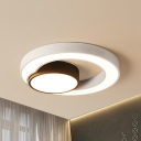 Black and White Circular Flush Light Fixture Contemporary LED Ceiling Lamp in Warm/White Light, 16