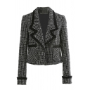 Pretty Fashion Girls' Long Sleeve Peak Collar Patched Pockets Contrast Piped Slim Fit Tweed Blazer in Black