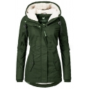 Female Winter Basic Plain Long Sleeve Hooded Button Zip Down Shearling Lined Fitted Thick Coat