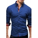 Mens Business Fashion Plaid Patched Cuffs Long Sleeve Button Down Slim Fit Cotton Shirt