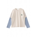 Preppy Girls' Long Sleeve Crew Neck Animal Embroidered Contrasted Patched Baggy T Shirt