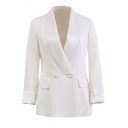 White Chic Roll Tab Sleeve Shawl Collar Button Front Flap Pockets Slim Fit Blazer for Ladies