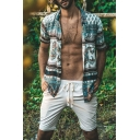 Mens Casual Vintage Printed Short Sleeve Button Up Loose Fit Holiday Beach Shirt