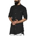 Unique Plain Long Sleeve Button Placket Asymmetric Hem Relaxed Longline Shirt