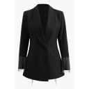 Formal Chic Long Sleeve Shawl Collar Button Front Pockets Side Fringe Slit Back Black Slim Fit Blazer for Ladies