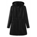 Female Cool Basic Long Sleeve Hooded Zipper Button Front Pockets Side Shearling Lined Baggy Midi Plain Leather Coat