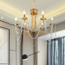 Candelabra Crystal Strand Ceiling Lamp Postmodern 6 Heads Living Room Chandelier Pendant Light in Gold