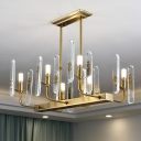 6 Heads Pendant Light Fixture Postmodern Curved Arm Crystal Block Island Lamp in Gold