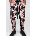Mens Chic Floral and Leaf Pattern Drawstring Waist Zipper Decoration Stretchy Pants