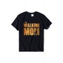 Women's Basic Short Sleeve Crew Neck Letter THE WALKING MOM Graphic Loose T Shirt