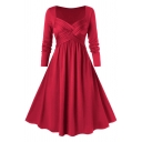 Formal Elegant Women's Long Sleeve V-Neck Crisscross Front Plain Maxi Flared Pleated A-Line Dress