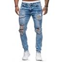 Cool Plain Light Blue Destroyed Broken Holes Zipper Fly Slim Fit Bleached Jeans
