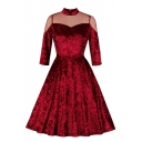 Pretty Red Three-Quarter Sleeve Mandarin Collar Polka Dot Sheer Mesh Patched Velvet Long Pleated Flared Dress for Female