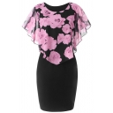 Formal Women's Batwing Sleeve Round Neck Floral Printed See-Through Mesh Patched Mid Tight Dress