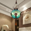 Globe Coffee Shop Pendant Light Kit Vintage Style Blown Glass 1 Light Blue Ceiling Suspension Lamp