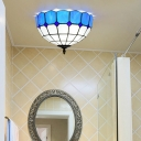 2 Lights Dome Ceiling Lighting Tiffany Blue/Yellow Stained Glass Flush Mount Light for Bathroom