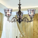 Beaded Bubble Glass Pendant Chandelier Tiffany-Style 3/6/8 Heads Antique Bronze Suspension Light