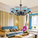Dome Chandelier Light 3/6/8 Bulbs Blue/Blue and Clear Glass Mediterranean Ceiling Lamp for Living Room, 25