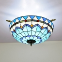 Blue/White 5 Bulbs Ceiling Mount Light Fixture Mediterranean Hand Rolled Art Glass Dome Flush Mount Lighting, 21.5