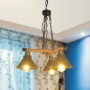 Vintage Conical Pendant Lighting 3/6 Lights Metal Chandelier Light Fixture in Black for Living Room