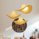 Contemporary Cap Bamboo Pendant Light Kit 1 Light Beige Hanging Lamp for Dining Room