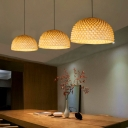 Dome Ceiling Pendant Lamp Contemporary Bamboo 1 Light Dining Room Hanging Lamp in Beige