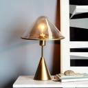 Gold Conical Task Lighting Modern Style 1 Light Amber Glass Small Desk Lamp for Bedside