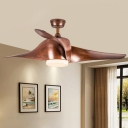 Round Living Room Ceiling Fan Light Traditional Metal LED Dark Wood Semi Flush Mount Light Fixture