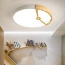 White Round Flush Mount Lighting Minimalist Wood 16