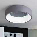 Gray Round Ceiling Light Simple Style Metal 18