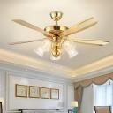 Gold Flower Ceiling Fan Light Retro Cream Glass Flower Semi Flush Mount for Restaurant