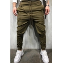 Mens Simple Whole Colored Drawstring Waist Pencil Pants Sports Trousers