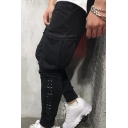 Simple Letter ASRV Print Zipper Pocket Studded Decoration Plain Sport Trousers