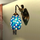 Tiffany Dome Vanity Lighting Fixture 1 Light Cut Glass Sconce Light in Blue/Red/Yellow with Mermaid Deco