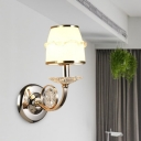 Metal White Wall Mount Lighting Conical 1/2 Bulbs Traditional Wall Sconce with Dangling Crystal Accent