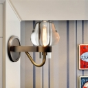 Minimalism Cone Wall Mount Lamp 1/2 Heads Clear K9 Crystal Wall Sconce in Brass with Clean-Lined Arm