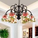 Tiffany Flower Chandelier Light 6 Light Hand Cut Glass Pendant Lamp in Black for Living Room