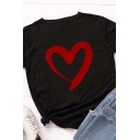 Casual Cute Roll Up Sleeve Crew Neck Heart Printed Slim Fit Tee for Ladies