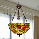 2 Bulbs Chandelier Light Tiffany Bloom Hand Cut Glass Ceiling Lamp in Yellow/Green/Red for Restaurant
