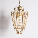 Faceted Crystal Gold Hanging Chandelier Lantern 3 Lights Vintage Down Lighting Pendant