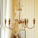 Crystal Gold/Grey Hanging Chandelier Swooping Arm 6 Lights Vintage Down Lighting Pendant for Living Room