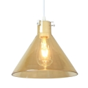 Modernist Tapered Ceiling Lamp Amber Glass 1 Head Dining Room Pendant Lighting Fixture