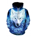 3D Floral Fire Wolf Pattern Long Sleeves Blue and Black Pullover Hoodie
